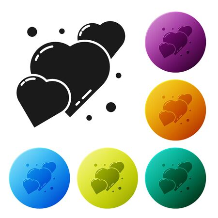 Black Heart icon isolated on white background. Romantic symbol linked, join, passion and wedding. 8 March. Happy Women Day. Set icons in color circle buttons. Vector Illustration