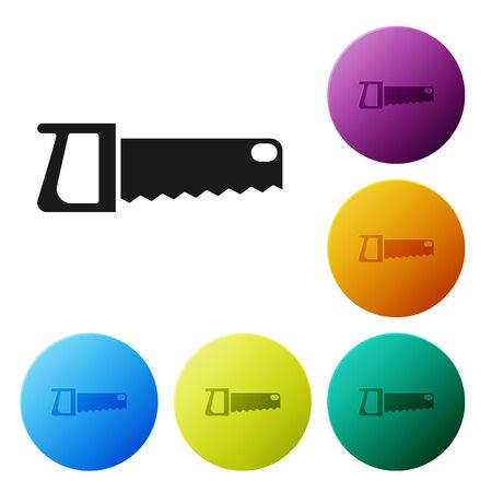 Black Hand saw icon isolated on white background. Set icons in color circle buttons. Vector Illustration Illustration