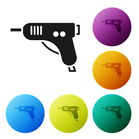 Black Electric hot glue gun icon isolated on white background. Hot pistol glue. Hot repair work appliance silicone. Set icons in color circle buttons. Vector Illustration