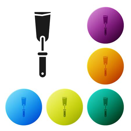 Black Putty knife icon isolated on white background. Spatula repair tool. Spackling or paint instruments. Set icons in color circle buttons. Vector Illustration Illustration