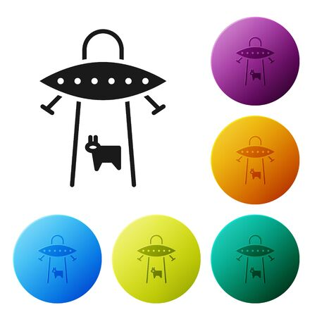 Black UFO abducts cow icon isolated on white background. Flying saucer. Alien space ship. Futuristic unknown flying object. Set icons in color circle buttons. Vector Illustration