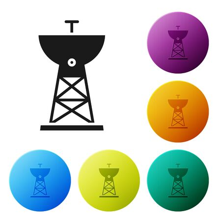 Black Satellite dish icon isolated on white background. Radio antenna, astronomy and space research. Set icons in color circle buttons. Vector Illustration