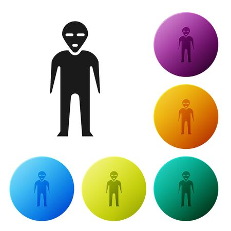 Black Alien icon isolated on white background. Extraterrestrial alien face or head symbol. Set icons in color circle buttons. Vector Illustration