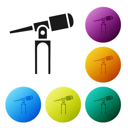 Black Telescope icon isolated on white background. Scientific tool. Education and astronomy element, spyglass and study stars. Set icons in color circle buttons. Vector Illustration