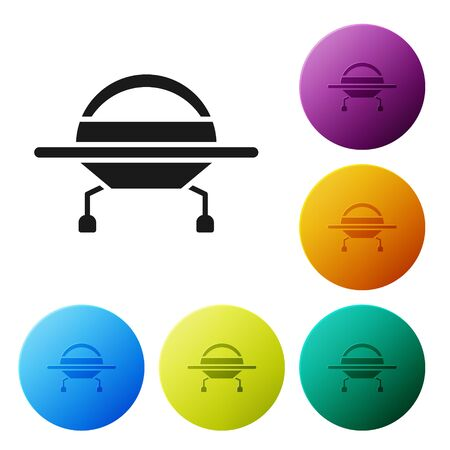 Black UFO flying spaceship icon isolated on white background. Flying saucer. Alien space ship. Futuristic unknown flying object. Set icons in color circle buttons. Vector Illustration 向量圖像
