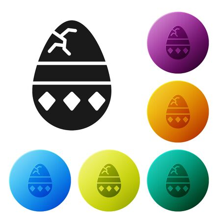 Black Cracked egg icon isolated on white background. Happy Easter. Set icons in color circle buttons. Vector Illustration Ilustração
