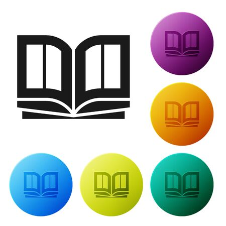 Black Holy bible book icon isolated on white background. Set icons in color circle buttons. Vector Illustration 일러스트