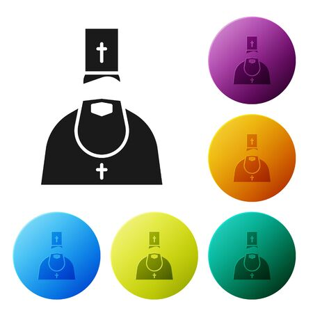 Black Priest icon isolated on white background. Set icons in color circle buttons. Vector Illustration