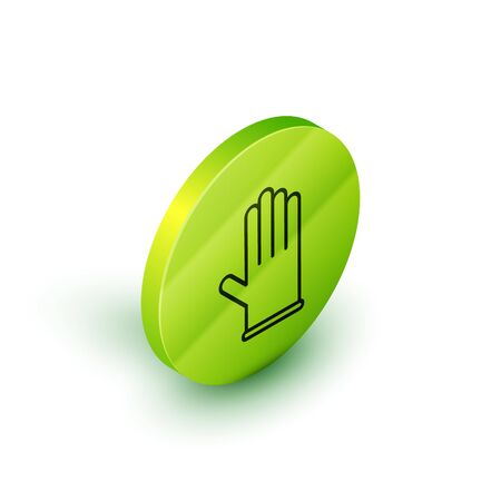 Isometric line Medical rubber gloves icon isolated on white background. Protective rubber gloves. Green circle button. Vector Illustration