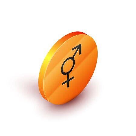 Isometric Gender icon isolated on white background. Symbols of men and women. Sex symbol. Orange circle button. Vector Illustration