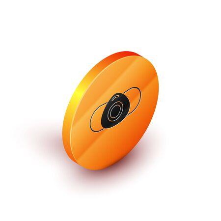 Isometric Medical protective mask icon isolated on white background. Orange circle button. Vector Illustration