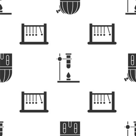 Set Astronomical observatory, Glass test tube flask on fire heater and Pendulum on seamless pattern. Vector
