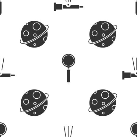 Set Telescope, Magnifying glass and Planet on seamless pattern. Vector