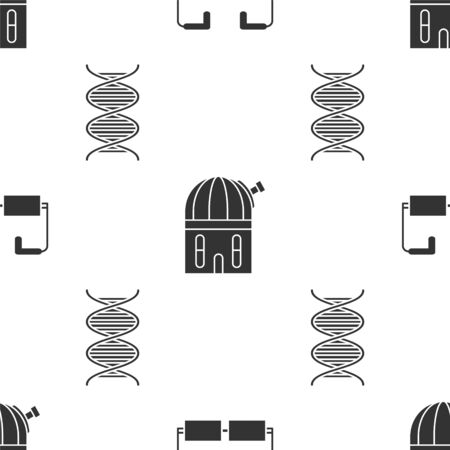 Set Glasses, Astronomical observatory and DNA symbol on seamless pattern. Vector