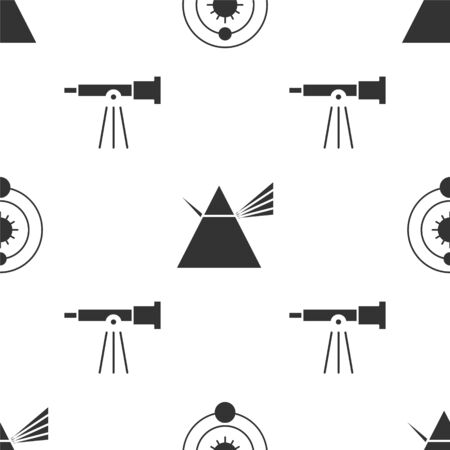 Set Solar system, Light rays in prism and Telescope on seamless pattern. Vector 向量圖像