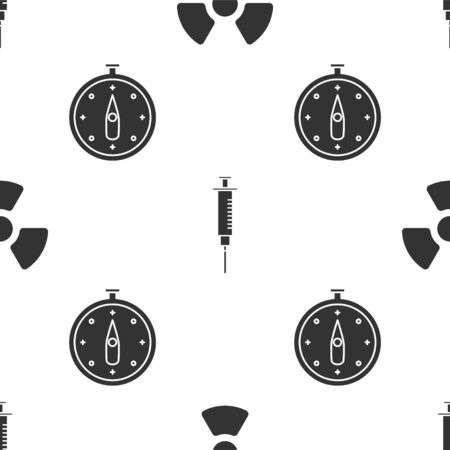 Set Radioactive, Syringe and Compass on seamless pattern. Vector Vecteurs
