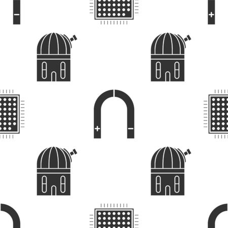 Set Processor, Magnet and Astronomical observatory on seamless pattern. Vector 向量圖像
