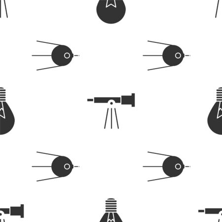 Set Light bulb with concept of idea, Telescope and Satellite on seamless pattern. Vector
