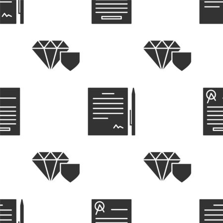 Set Confirmed document and check mark, Contract with pen and Diamond with shield on seamless pattern. Vector Ilustração