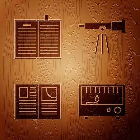Set Electrical measuring instruments, Open science book, Open book and Telescope on wooden background. Vector 向量圖像