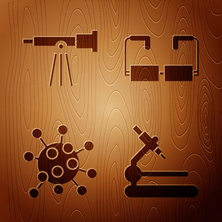 Set Microscope, Telescope, Bacteria and Glasses on wooden background. Vector