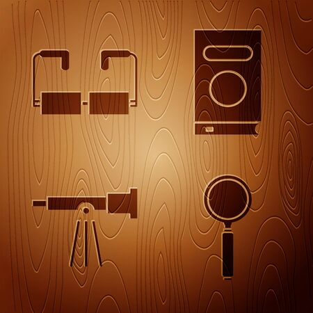Set Magnifying glass, Glasses, Telescope and Book on wooden background. Vector