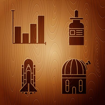 Set Astronomical observatory, Pie chart infographic, Space shuttle and rockets and Glass bottle with a pipette on wooden background. Vector