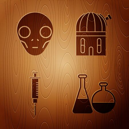 Set Test tube and flask chemical laboratory, Extraterrestrial alien face, Syringe and Astronomical observatory on wooden background. Vector