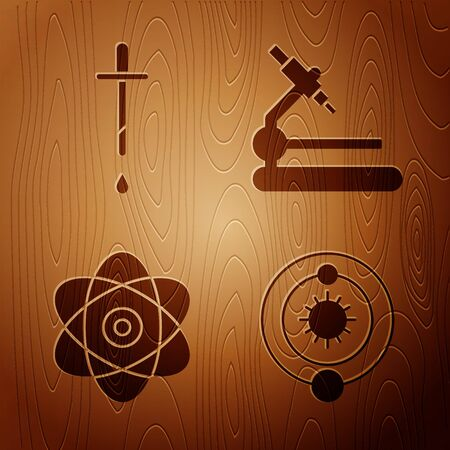 Set Solar system, Pipette, Atom and Microscope on wooden background. Vector