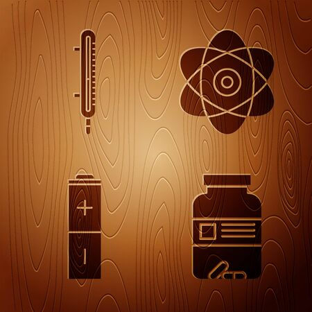 Set Medicine bottle and pills, Meteorology thermometer measuring, Battery and Atom on wooden background. Vector 向量圖像