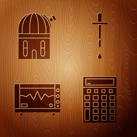 Set Calculator, Astronomical observatory, Computer monitor with cardiogram and Pipette on wooden background. Vector