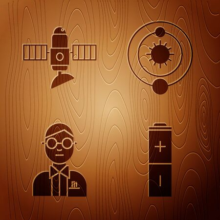 Set Battery, Satellite, Scientist and Solar system on wooden background. Vector 向量圖像