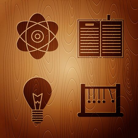 Set Pendulum, Atom, Light bulb with concept of idea and Open science book on wooden background. Vector
