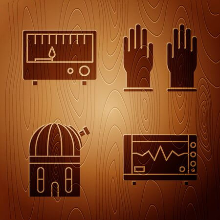 Set Computer monitor with cardiogram, Electrical measuring instruments, Astronomical observatory and Rubber gloves on wooden background. Vector
