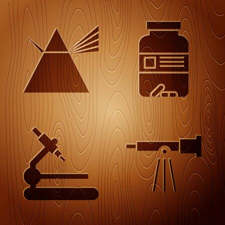 Set Telescope, Light rays in prism, Microscope and Medicine bottle and pills on wooden background. Vector 向量圖像