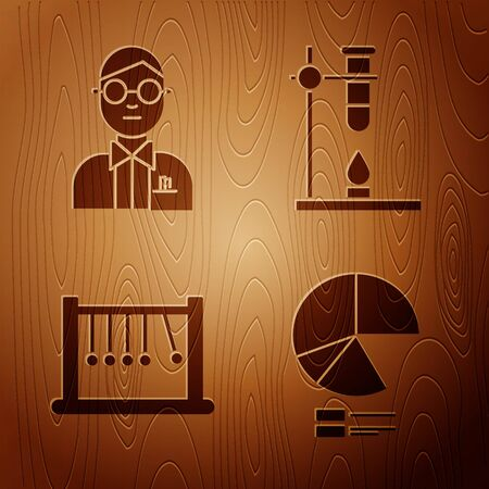 Set Pie chart infographic, Scientist, Pendulum and Glass test tube flask on fire heater on wooden background. Vector