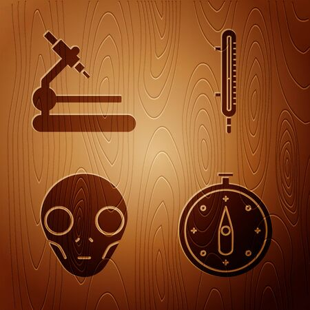 Set Compass, Microscope, Extraterrestrial alien face and Meteorology thermometer measuring on wooden background. Vector 向量圖像
