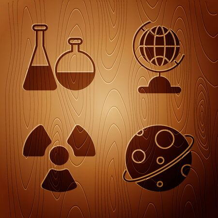 Set Planet, Test tube and flask chemical laboratory, Radioactive and Earth globe on wooden background. Vector