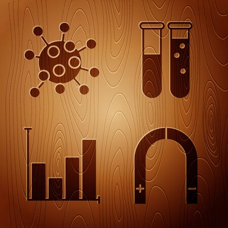Set Magnet, Bacteria, Pie chart infographic and Test tube and flask chemical laboratory on wooden background. Vector 向量圖像