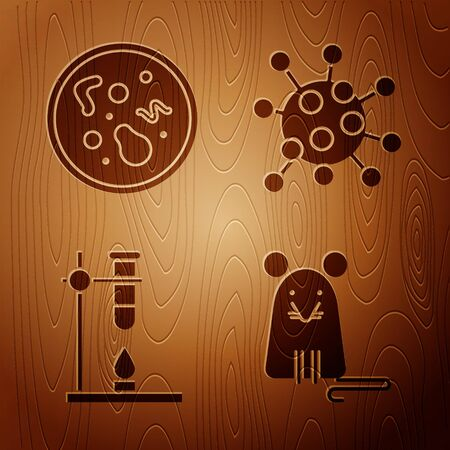Set Rat, Bacteria, Glass test tube flask on fire heater and Bacteria on wooden background. Vector