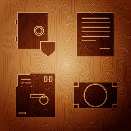 Set Stacks paper money cash, Safe with shield, Ordered envelope and Document on wooden background. Vector