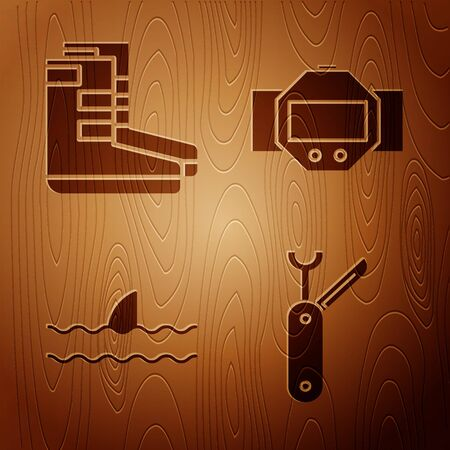 Set Swiss army knife, Boots, Shark fin in ocean wave and Diving watch on wooden background. Vector Vectores