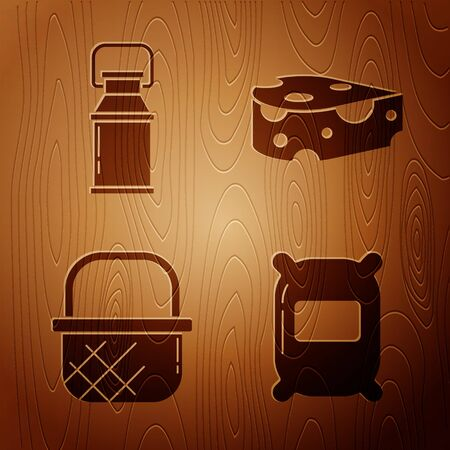 Set Bag of flour, Can container for milk, Shopping basket and Cheese on wooden background. Vector