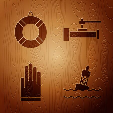 Set Floating buoy on the sea, Lifebuoy, Gloves and Industry metallic pipes and valve on wooden background. Vector