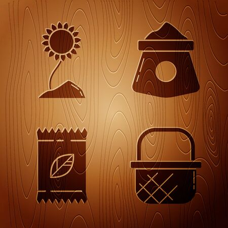 Set Shopping basket, Sunflower, A pack full of seeds of a specific plant and Bag of flour on wooden background. Vector