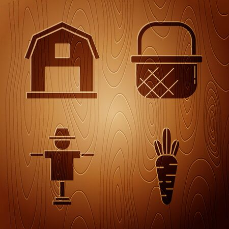 Set Carrot, Farm House concept, Scarecrow and Shopping basket on wooden background. Vector