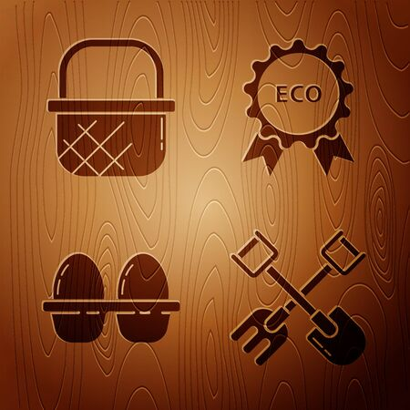Set Shovel and rake, Shopping basket, Chicken egg in box and Banner, label, tag, logo for eco on wooden background. Vector