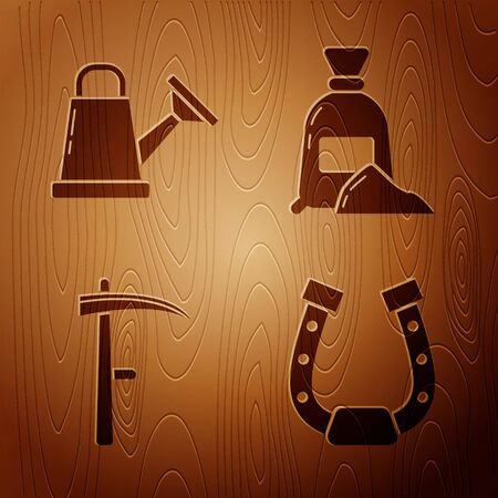 Set Horseshoe, Watering can, Scythe and Bag of flour on wooden background. Vector Иллюстрация