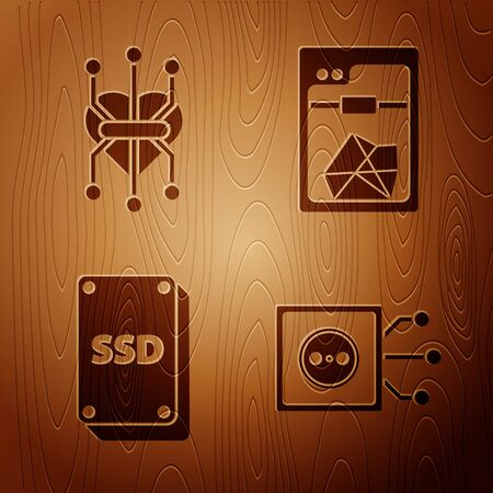 Set Remote control, Processor, SSD card and 3D printer on wooden background. Vector Фото со стока - 143884100