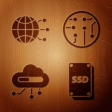 Set SSD card, Global technology or social network, Internet of things and Processor on wooden background. Vector Illustration